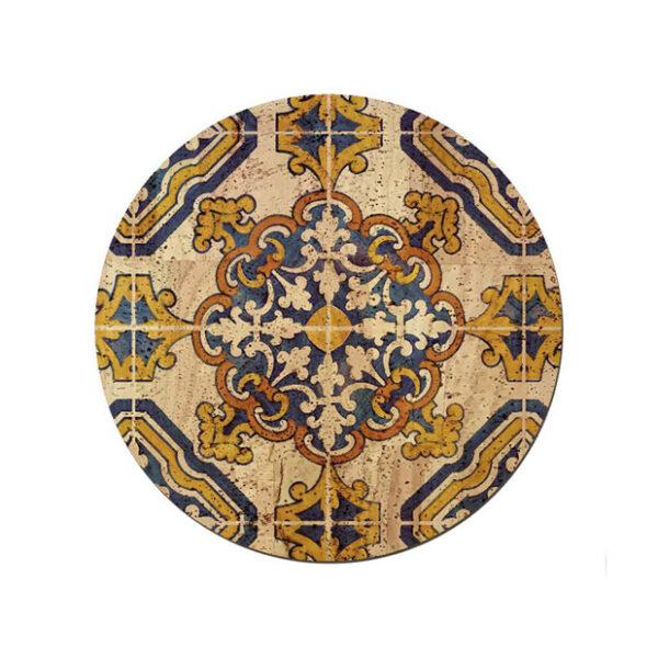 Tischset «Azulejo» rund aus Kork von Artipel