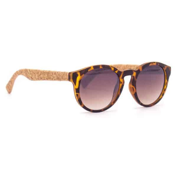 Braune Sonnenbrille (round) mit Kork