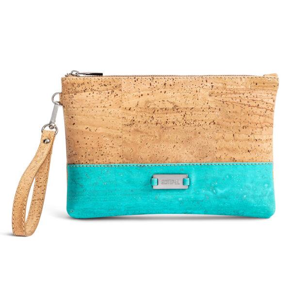 Kleine Handtasche «Geometric» türkis aus Kork
