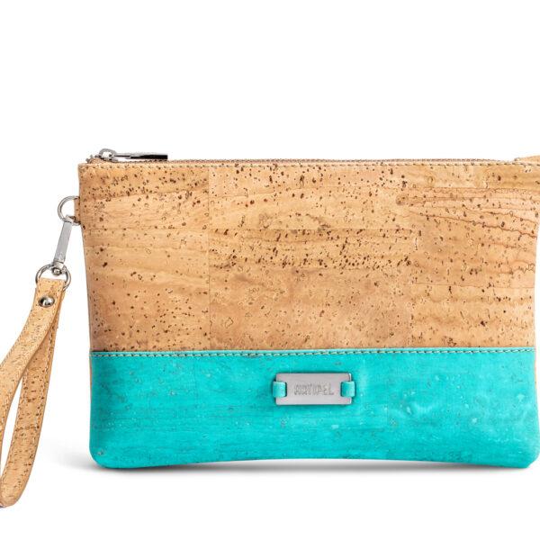 Kleine Handtasche «Geometric» türkis aus Kork von Artipel