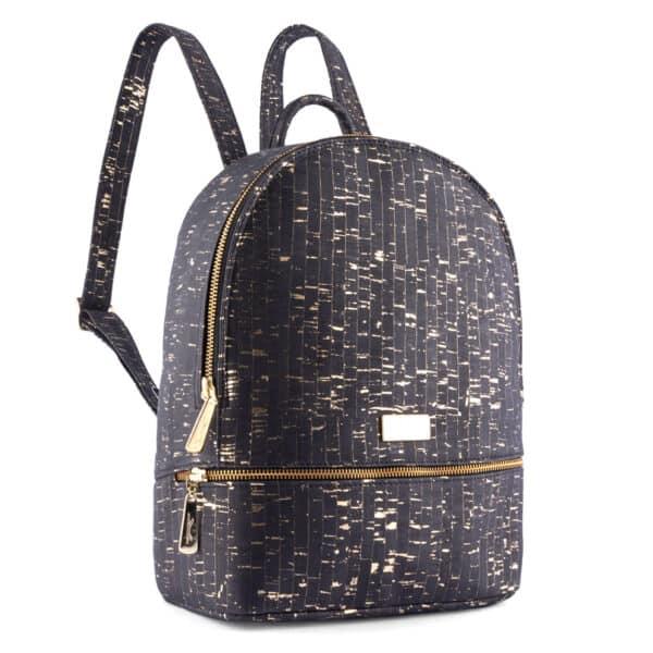 Rucksack Gold schwarz aus Kork